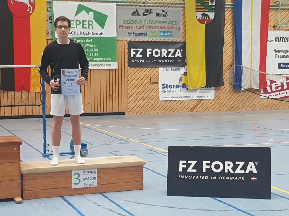 1. Norddeutschen Rangliste U17/19 in Liebenau 2020 - Platz 3 im Jungeneinzel für Luca Wiechmann