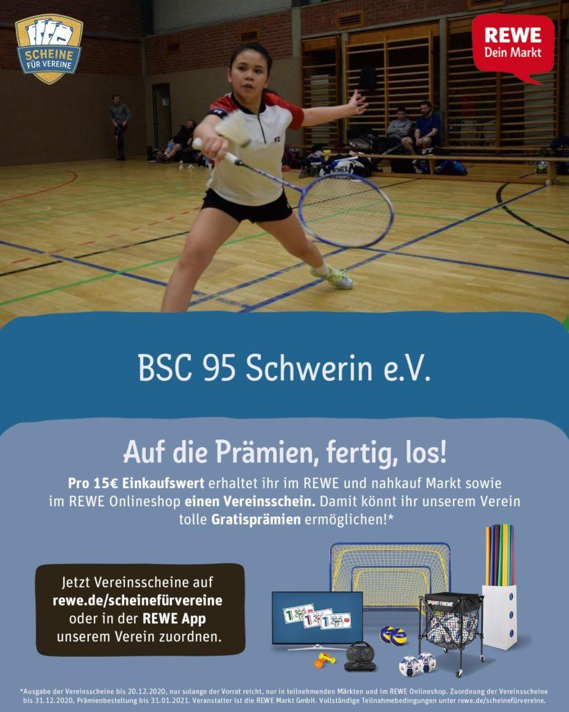 individualisiertes Poster der Rewe-Kampagne Scheine für Vereine   Badminton Sport Club 95 Schwerin